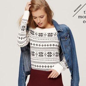 Loft fair isle snowflake sequin tunic sweater